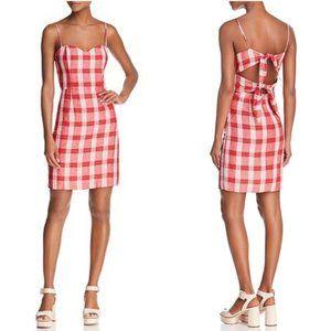 Bardot Tie Back Red Check Plaid Dress XS/4